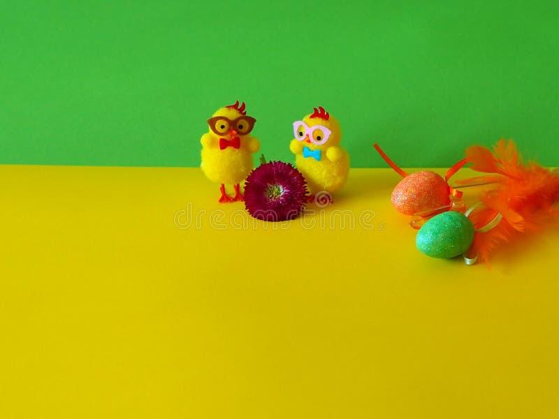 Желтая и зеленая предпосылка с украшением пасхи, цыпленком пар стоковые фотографии rf