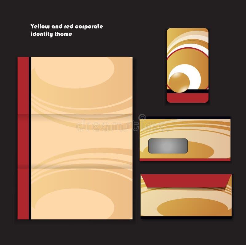 Желтая и красная тема корпоративной тождественности иллюстрация штока