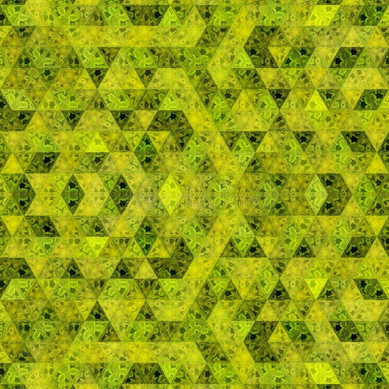 Желтая и хаки картина треугольников в непрерывной мозаике иллюстрация штока