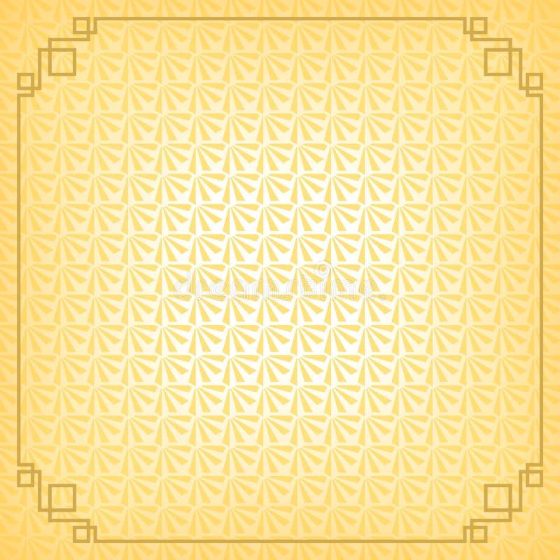 Желтая китайская маленькая предпосылка конспекта вентилятора с границей золота бесплатная иллюстрация