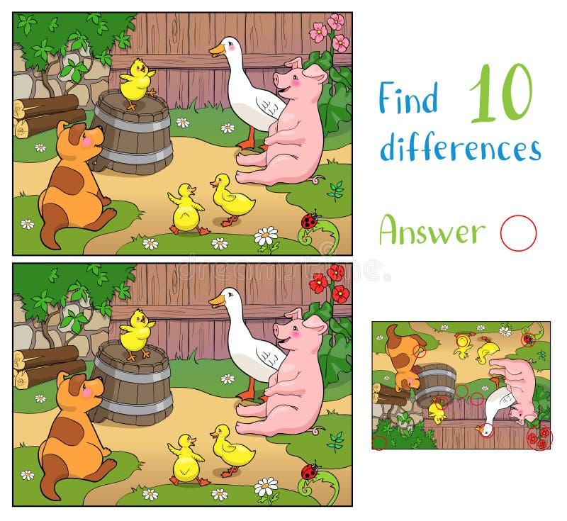 Желтая курица радуется щенку, свинье и уткам с маточной уткой Найти 10 различий иллюстрация штока