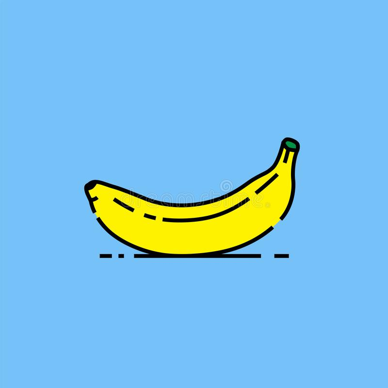 Желтая линия значок банана иллюстрация штока