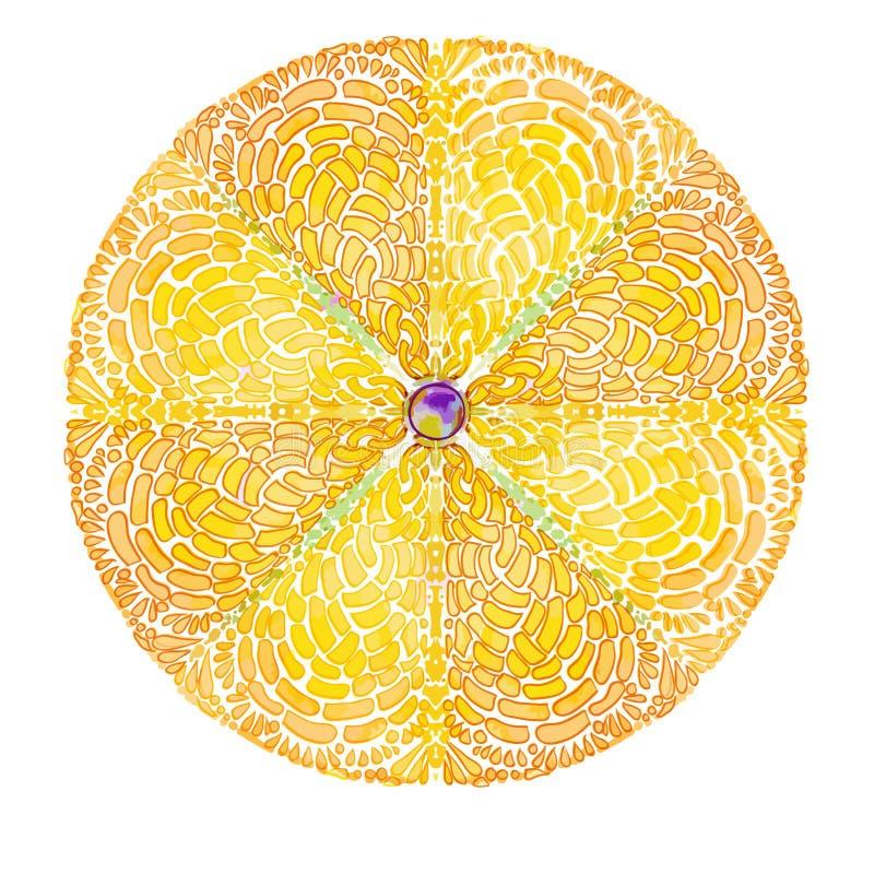 Желтая мандала вектора Круглая солнечная картина, солнечный изолят символа бесплатная иллюстрация