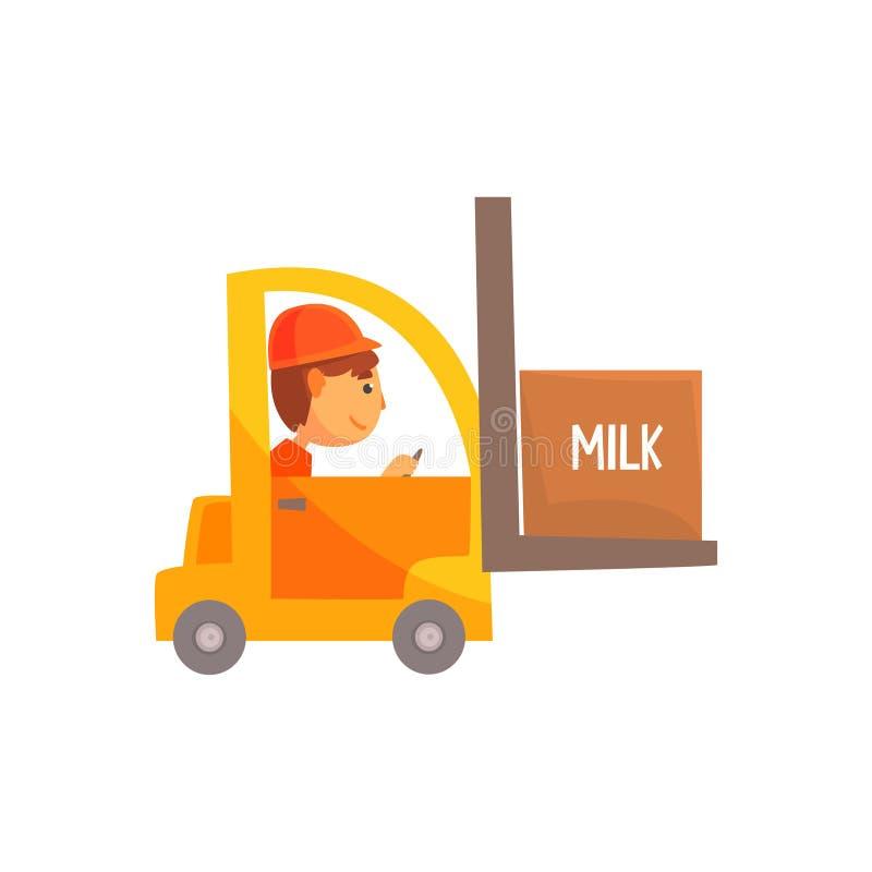 Желтая платформа грузоподъемника с коробкой молока, иллюстрации вектора шаржа транспорта молочного продучта бесплатная иллюстрация
