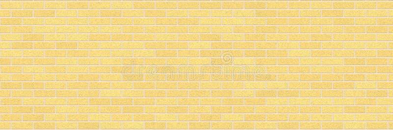 Желтая предпосылка конспекта кирпичной стены Текстура кирпичей бесплатная иллюстрация