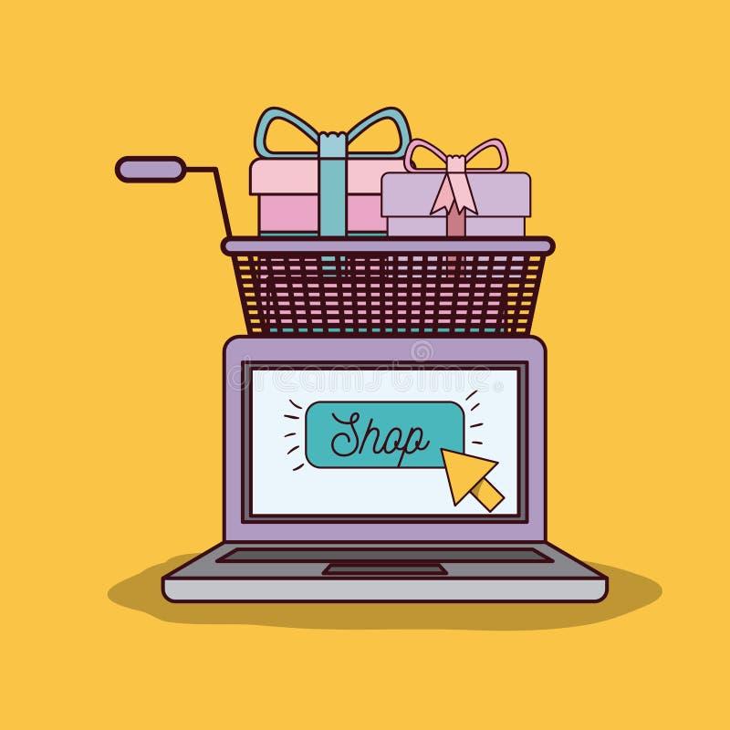Желтая предпосылка с портативным компьютером и магазинной тележкаой вполне подарков иллюстрация вектора
