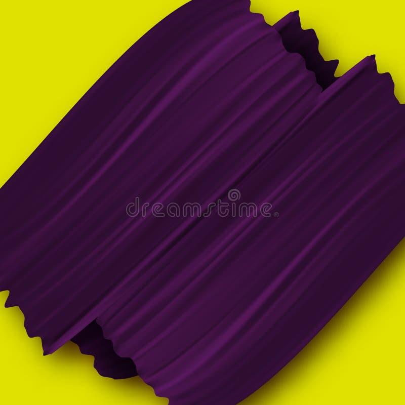 Желтая предпосылка с фиолетовыми ходами кисти иллюстрация штока