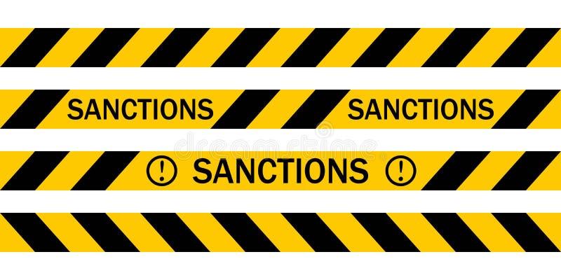 Желтая предупреждающая лента с САНКЦИЯМИ надписи, Vector предупреждающие ленты о введении санкций иллюстрация вектора