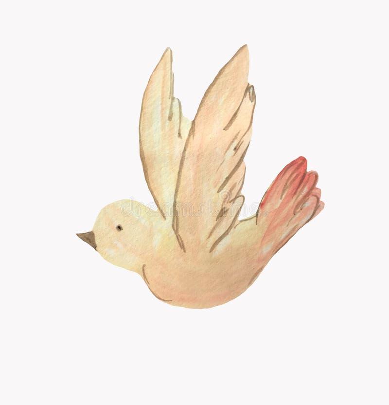 Желтая птица мультфильма на белой предпосылке иллюстрация вектора