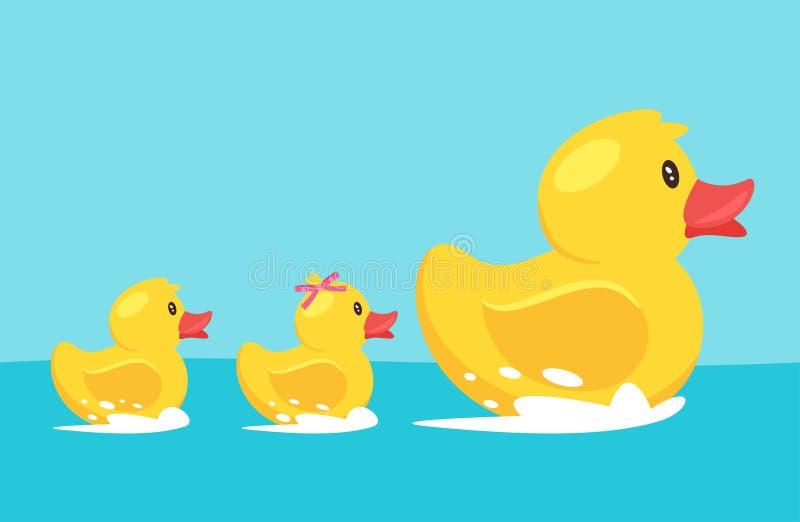 Желтая резиновая утка с семьей иллюстрация вектора