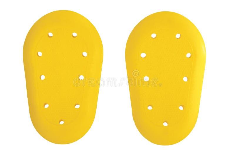 желтая сторона вводит протектор полимера, протекторы предохранителя, безопасность для тела защиты изолированного в белой предпосы стоковое изображение
