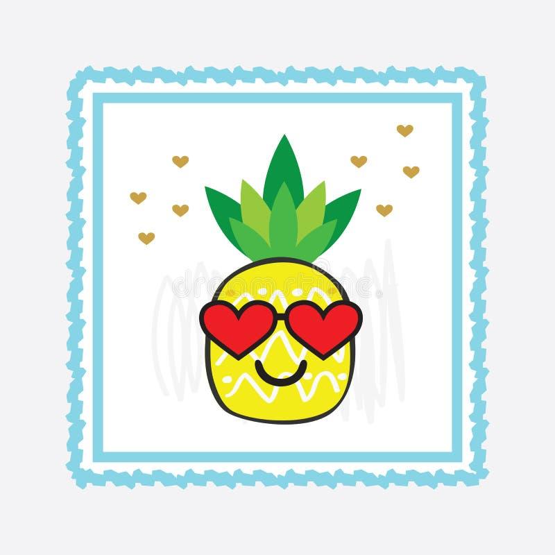 Желтая сторона emoji ананаса мультфильма с красными солнечными очками сердца и голубой картой рамки иллюстрация штока