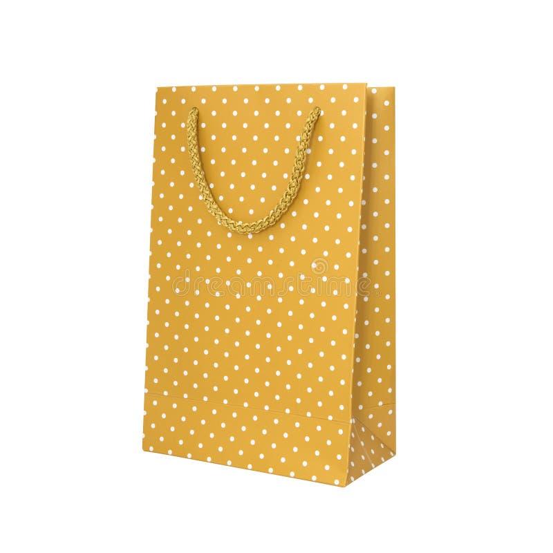 Желтая сумка точки польки бумажная стоковое изображение rf