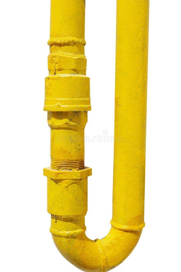 Желтая труба газа на белизне стоковая фотография