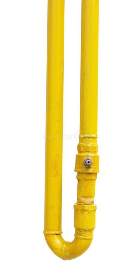 Желтая труба газа на белизне стоковые фотографии rf