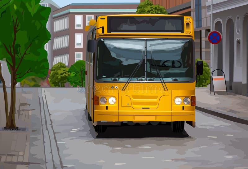 Желтая шина в городе иллюстрация вектора