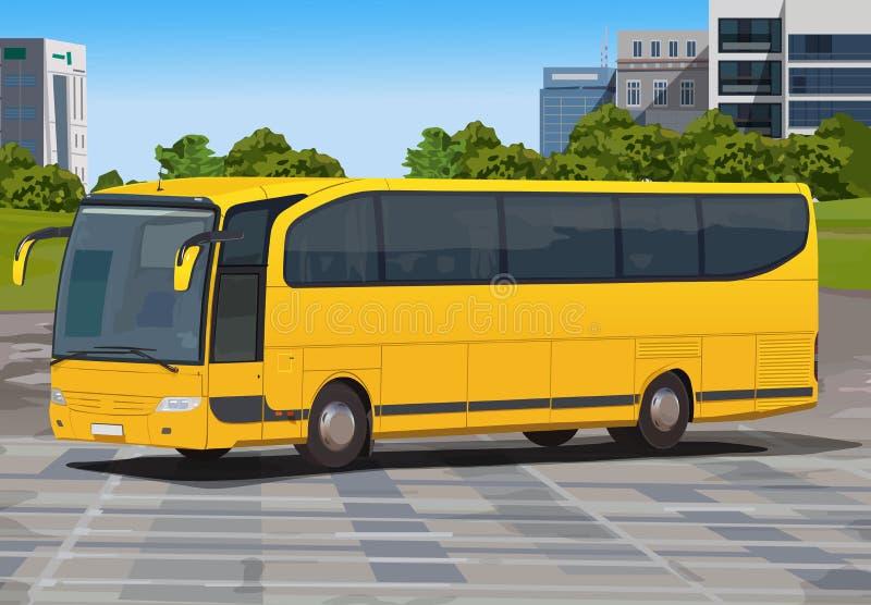 Желтая шина в городе иллюстрация штока
