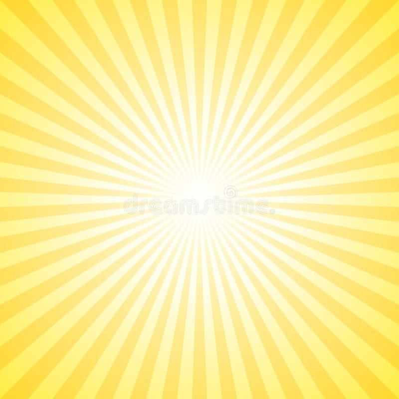 Желтое абстрактное солнце разрывало предпосылку - векторную графику солнечного света градиента от радиальных нашивок бесплатная иллюстрация
