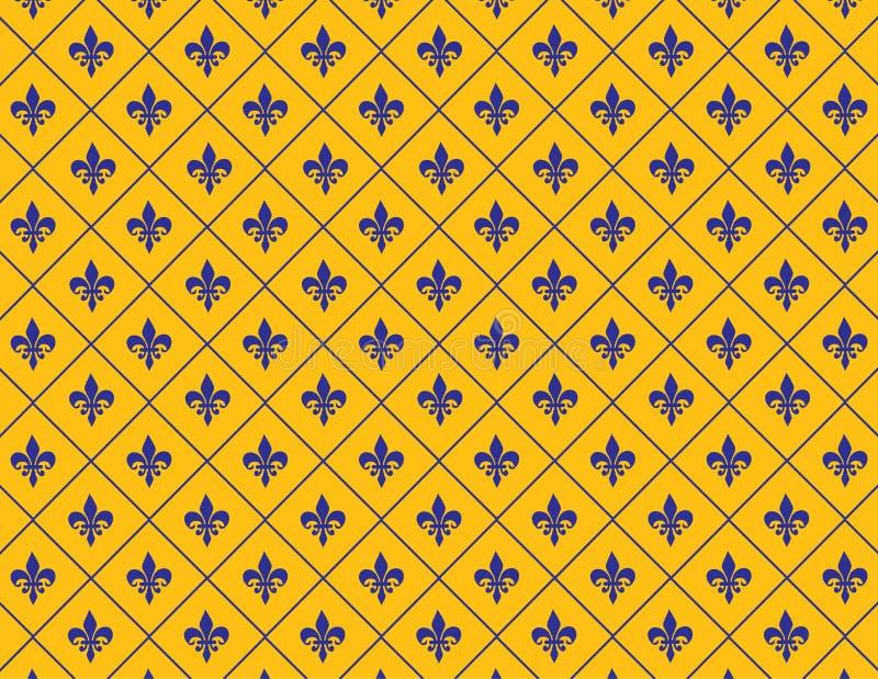 Желтое и голубое Fleur de lis Предпосылка иллюстрация вектора
