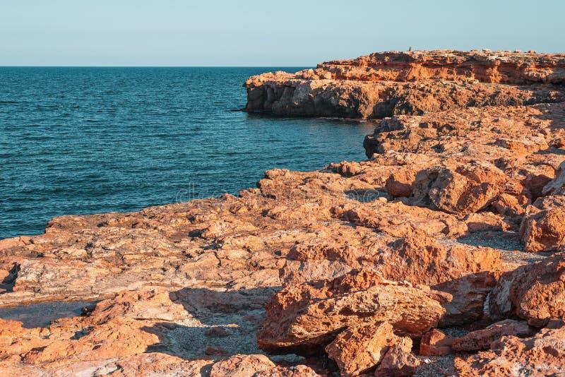 Желтое каменистое побережье стоковые фотографии rf