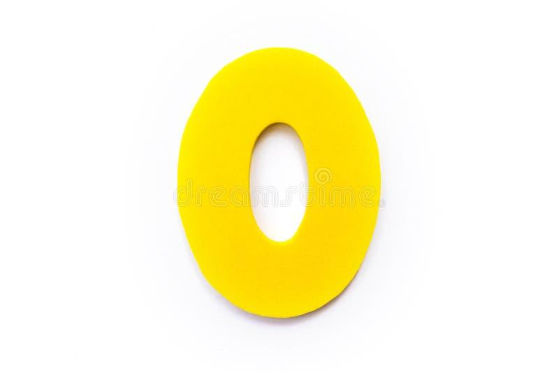 Желтое письмо o или нул стоковые изображения