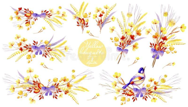 Желтое собрание акварели букетов Естественные cliparts для wedding дизайна, художнического творения бесплатная иллюстрация