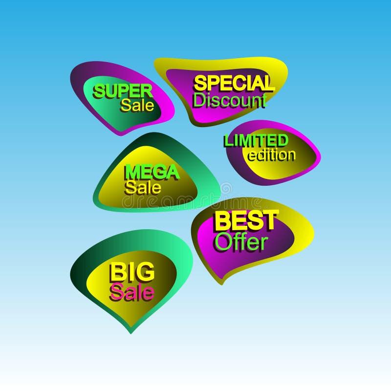 Желтое собрание стикера продаж стоковые фото