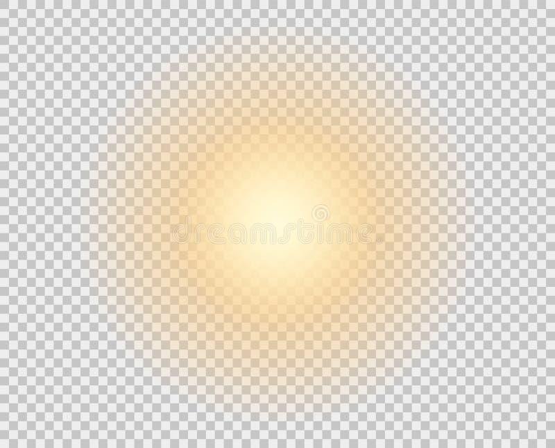 Желтое солнце, вспышка, мягкое зарево без уходя лучей Элемент вектора изолирован на прозрачной предпосылке иллюстрация штока