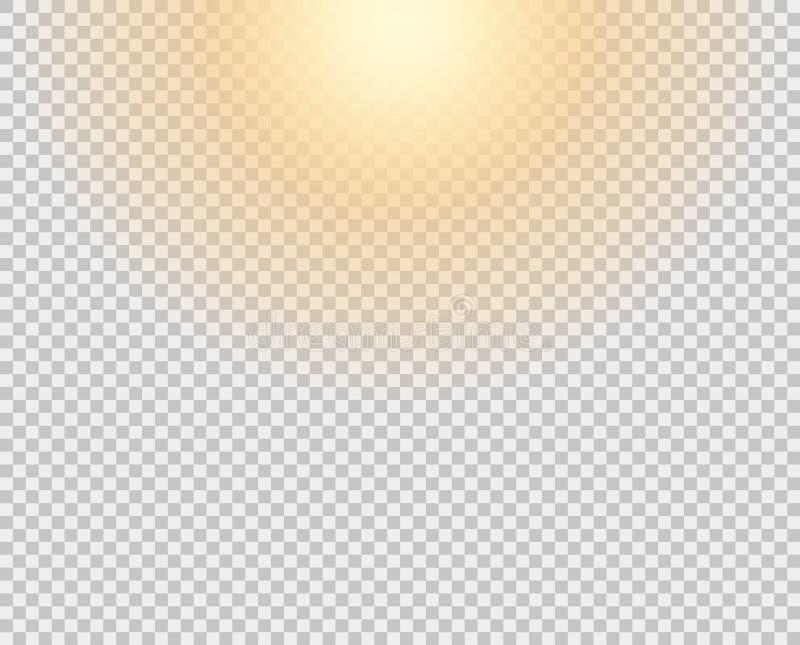 Желтое солнце, вспышка, мягкое зарево без уходя лучей Элемент вектора изолирован на прозрачной предпосылке бесплатная иллюстрация