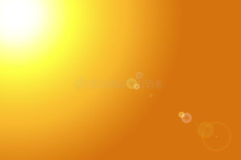 Желтое яркое солнце с пирофакелом объектива иллюстрация вектора