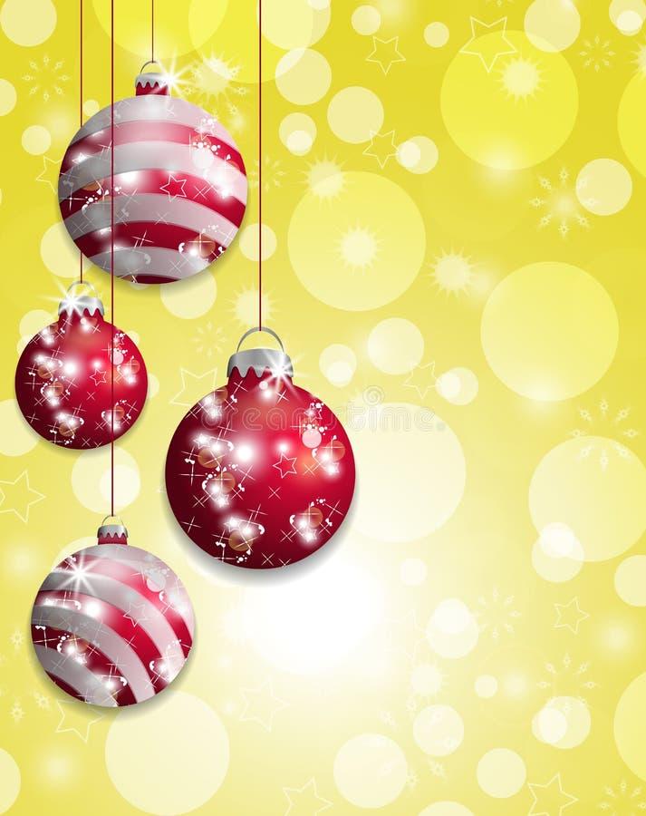 Желтое bokeh предпосылки рождества с повешенными красными безделушками вектор иллюстрация вектора
