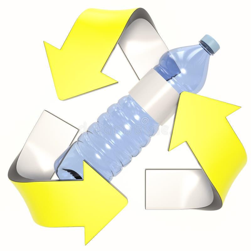 Желтое 3D повторно используя логотип с пластиковой бутылкой иллюстрация вектора