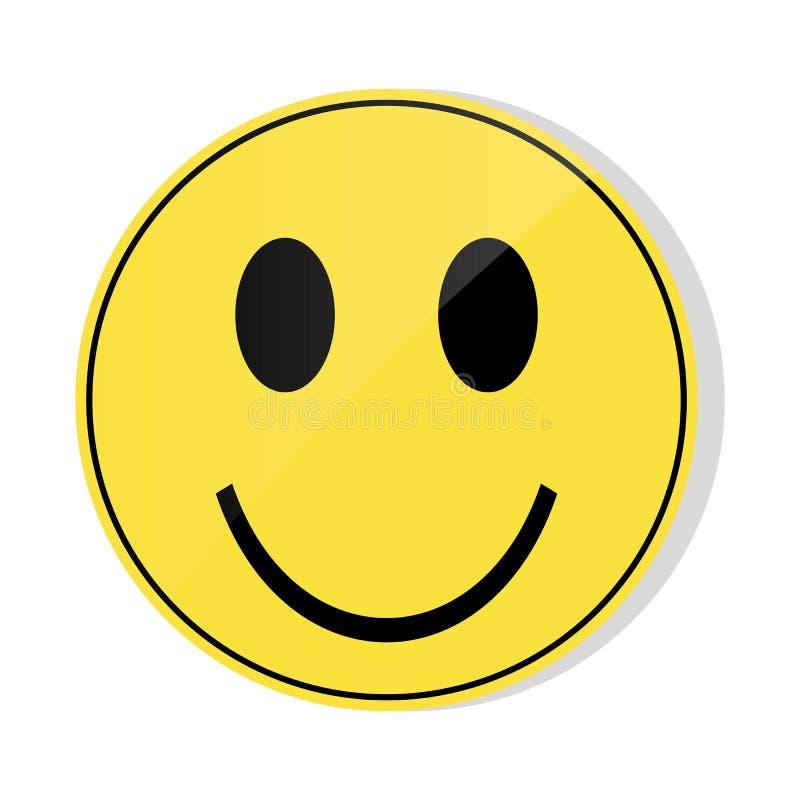 Желтое emoji улыбки с лоснистым передним syde Желтое emoji улыбки на белом ве иллюстрация штока