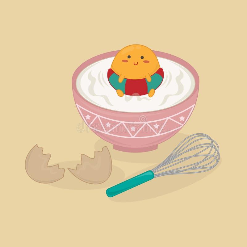 Желток Cutie в чашке иллюстрация вектора
