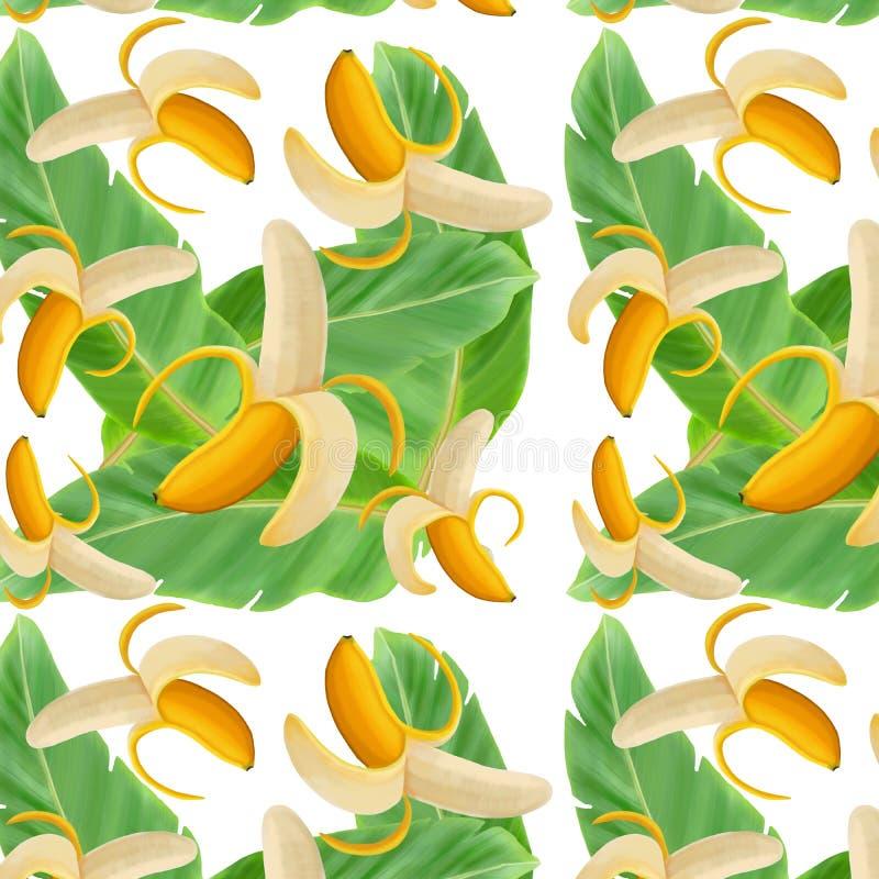 Желтые бананы на зеленых листьях на белой предпосылке иллюстрация вектора