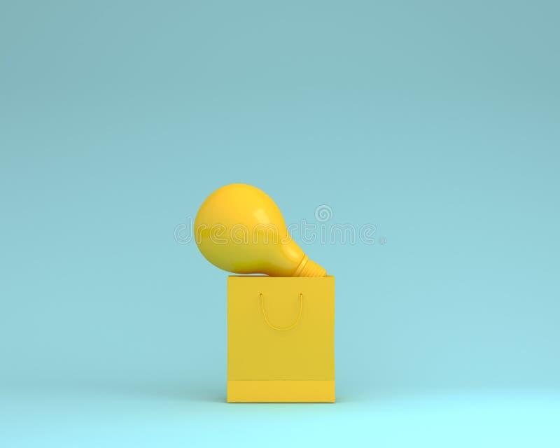 Желтые бумажные хозяйственные сумки и электрические лампочки на голубом backgro цвета бесплатная иллюстрация