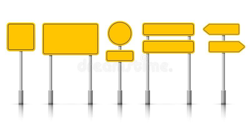 Желтые доски дорожного знака улицы Извещение о roadsign вектора бдительное иллюстрация вектора