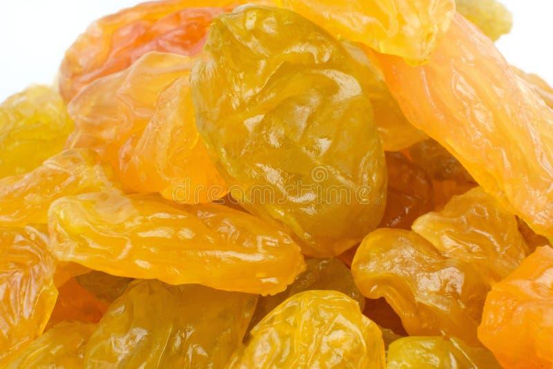 Желтые изюминки султанш изолированные на белом вырезе предпосылки стоковые фото