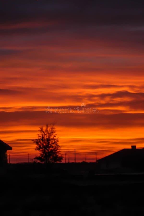 Желтые и фиолетовые облака на заходе солнца стоковые фотографии rf