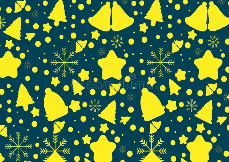 Желтые колоколы, снежинка, деревья вектор экрана иллюстрации 10 eps бесплатная иллюстрация