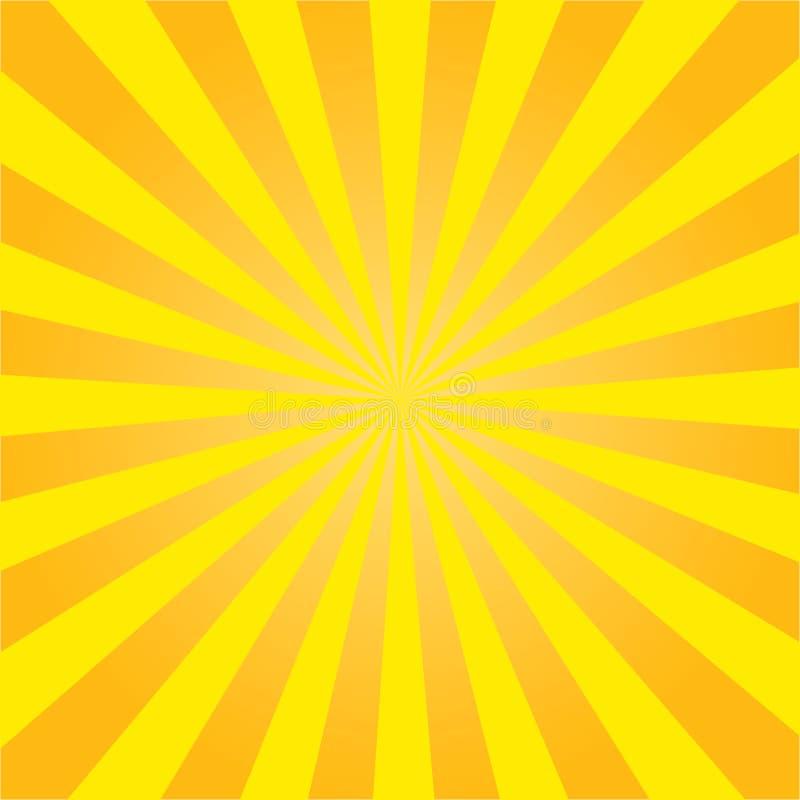 Желтые лучи солнца Радиальная ретро предпосылка r иллюстрация вектора