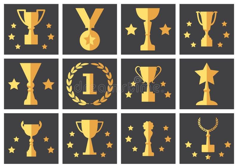 Желтые награды и чашки, набор вектора иллюстрация вектора