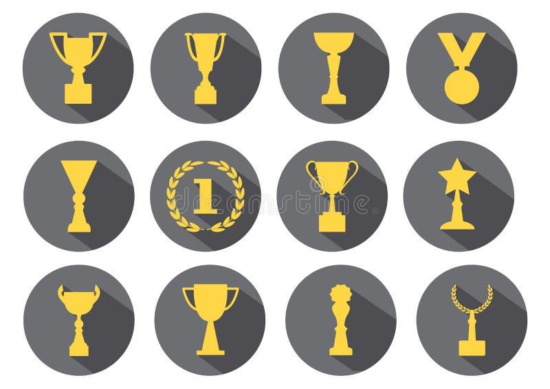 Желтые награды и чашки на серой предпосылке, наборе вектора иллюстрация вектора