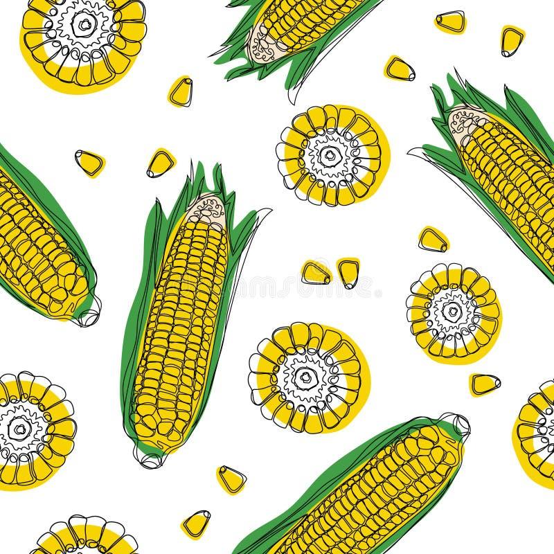 Желтые стержни кукурузного початка с картиной зеленых листьев безшовной Зрелые овощи мозоли также вектор иллюстрации притяжки cor иллюстрация штока