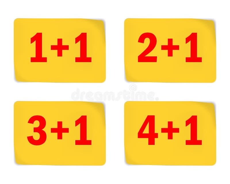 Желтые стикеры для дизайна особенного предложения Покупка 1 2, 3, 4 получает 1 свободный стоковая фотография rf
