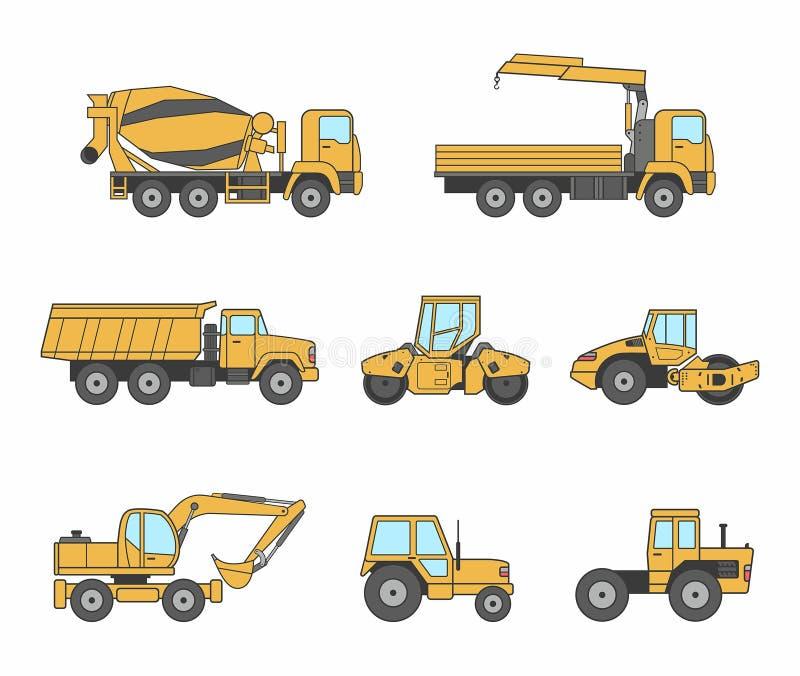 Желтые установленные значки машин конструкции иллюстрация штока