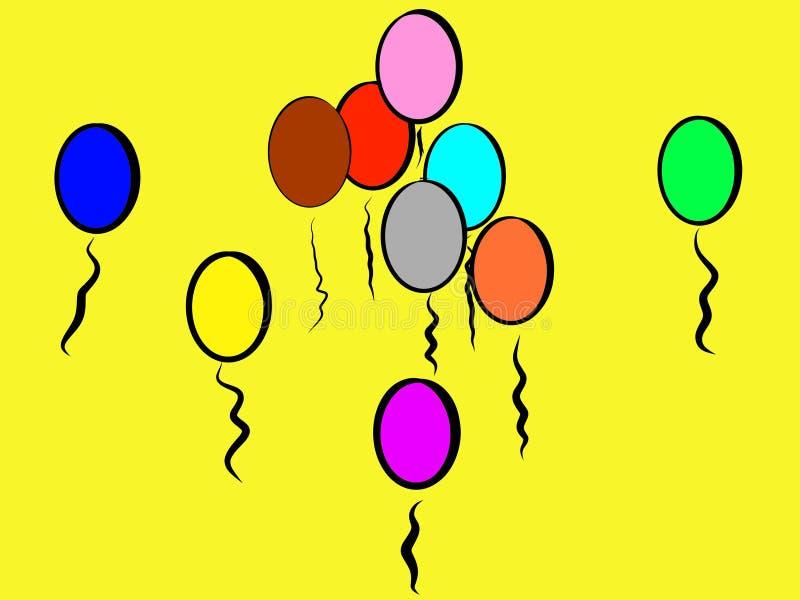 Желтые шаловливые красочные воздушные шары, который нужно усмехнуться около иллюстрация вектора