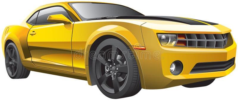 Желтый автомобиль мышцы иллюстрация штока