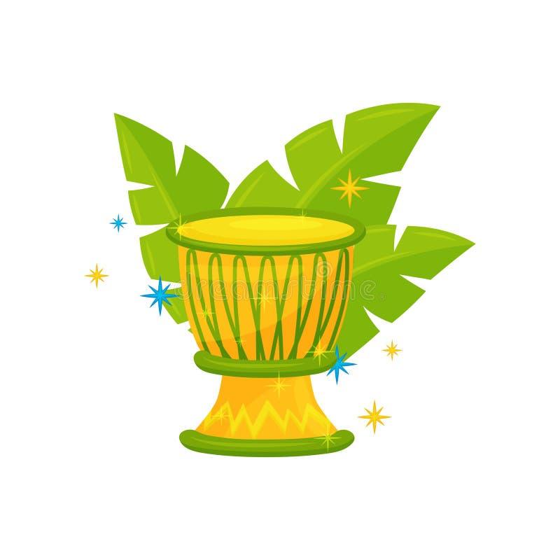 Желтый бразильский барабанчик и зеленые листья ладони Музыкальный инструмент выстукивания Тема фестиваля самбы Плоский дизайн век бесплатная иллюстрация