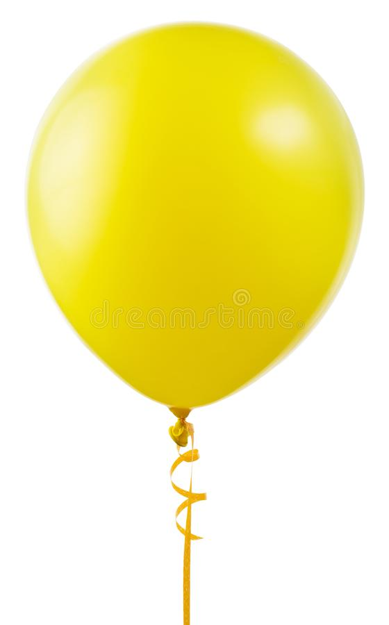 Желтый воздушный шар летая стоковая фотография rf